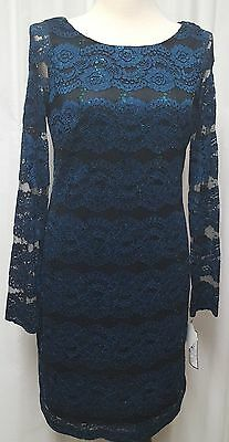 NWT Jessica Howard Black Teal Sequin and Lace Event Dress Size 12 Retail $89