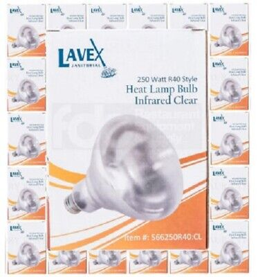 6 PACK Lavex 250 Watt CLEAR Infrared Heat Lamp Light Buffet Warmer Bulb 250W R40