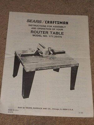 Sears Craftsman Router Table Manual Only No 171 25475