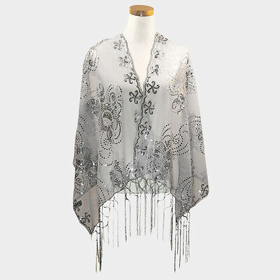 Elegant Formal Special Occasion Sheer Gray Silver Floral Sequined Shawl Wrap
