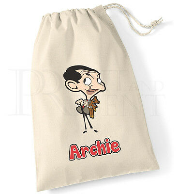 Personalised Childrens Boys Mr Bean Cartoon Drawstring Canvas Gym Pump PE  Bag