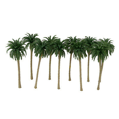 10pcs Green Model Plastic Cement Coconut Palm Trees Layout Scenery 1/75 13cm
