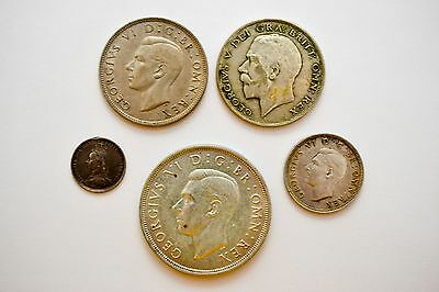 Great Britain 5 Coin Lot 3 Pence Shilling 1/2 Crown George V VII Victoria