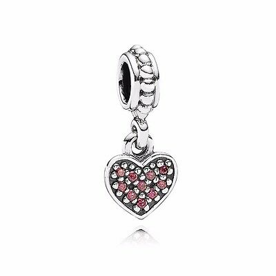 PANDORA Silver and Pink Pave Heart Pendant Charm 791023CZR Authentic Pandora