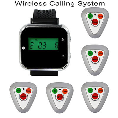 Watch Receiver,5*Pager Call Button for Church Wireless Calling System 433.92MHz