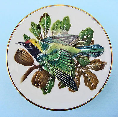 FRANKLIN MINT PORCELAIN Songbirds of the World Golden Fronted Leaf Mini Pin Dish