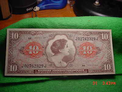 *1965 Military Payment Certificate $10.00 Series 641, About Uncirculated ++