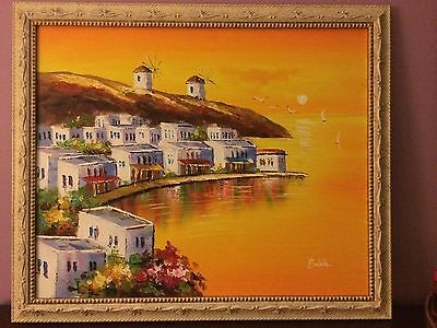 Original Framed Oil Painting Of The Island Of Mykonos, Greece