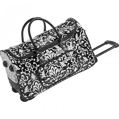 New Thirty One Rolling Tote Bag Luggage Travel Duffle Light Black Parisian Pop