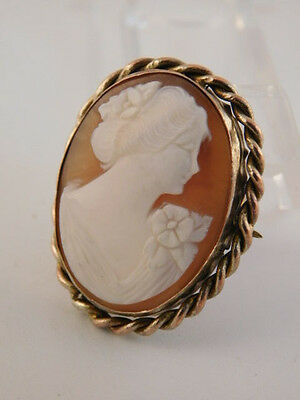 Carved Shell Pretty Lady Cameo Pin Brooch Vintage Antique Gold Filled