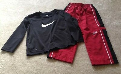 Nike- Lot Of 2 - Boys Size 2T Red Athletic Pants/Dry Fit Long Sleeve Black Shirt