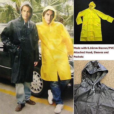 New Mens Rain Coat Heavy Duty Long PVC Rain Wear/Rain Jacket Sizes:M, L, XL, 2XL