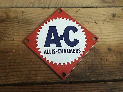Vintage Allis-Chalmers Porcelain Sign / Plaque , Tractor Farm Advertising