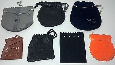 7 assorted jewelry / change pouches - leather, suede, felt.