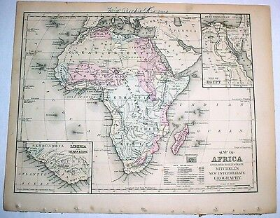 1879 Delicately Hand-Colored Antique Map of Africa