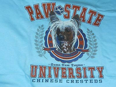 Paw State Chinese Crested Tee Blue Color 100% Cotton