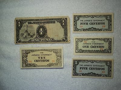 Japan currency 10&5&1 centavos 1 peso (lot of 5) notes XF/AU+--shown