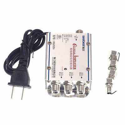 New HDTV Antenna Booster TV Signal Amplifier CATV 1 Pc 20DB Splitter 1 In 3 Out