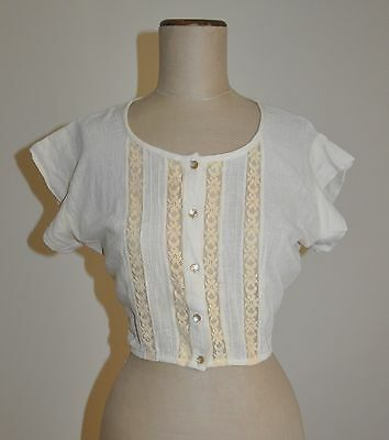 Vintage 70's Cotton Cheesecloth Cropped Blouse