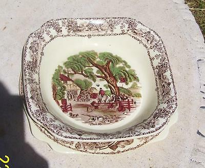 Pretty Vintage Aj Wilkinson England Rural Scenes Strainer Bowl & Underplate
