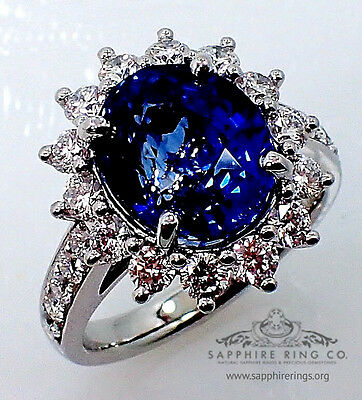 GIA Platinum 7.35 tcw Blue Oval Cut Ceylon Natural Sapphire & Diamond Ring