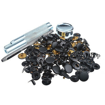10mm 30 Sets Matt Black Poppers/Snap Fasteners Press Stud Kit Sewing Buttons UK