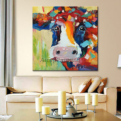 Animal Oil Painting Morden Abstract Cow Wall Art Canvas Hand Painted NO framed