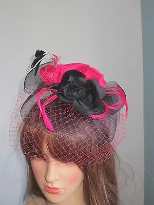 black and  pink   fascinator and feathers  on headband