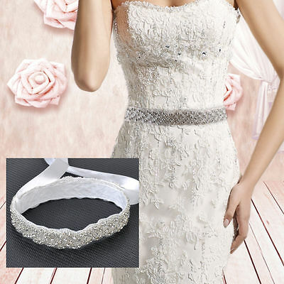 Vintage Bridal Handmade Ribbon Rhinestone Pearl Crystal Wedding Dress Belt Sash