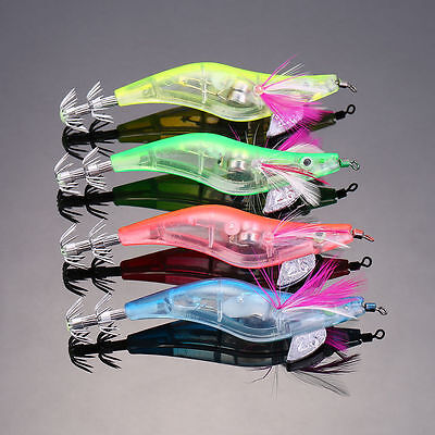 4pcs LED Lighted Shrimp Fishing Lure Squid Bait Prawn Baits Jigs Tackle 4 Colors