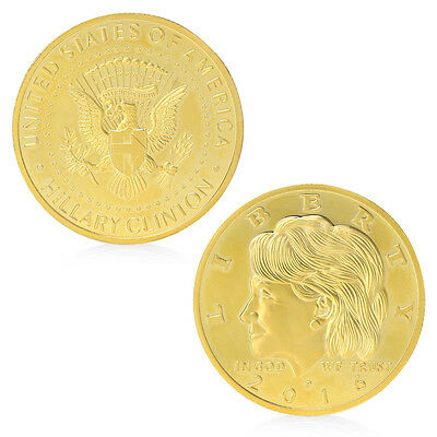 Golden Hillary Clinton In God We Trust Commemorative Challenge Coin Gifts New
