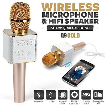 Q9 Gold Handheld KTV Karaoke Mic Wireless Microphone Bluetooth Speaker Player