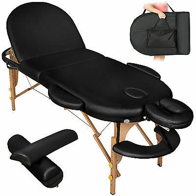 Massageliege Massagetisch Massagebank 3 Zonen Reiki oval + Rollen Set 3 schwarz