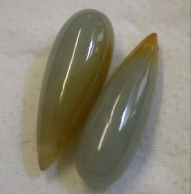 2 X Natural Gemstone Jadeite Jade 9X25Mm Tear Drop A Pair 30Ct Total Gem Pe14