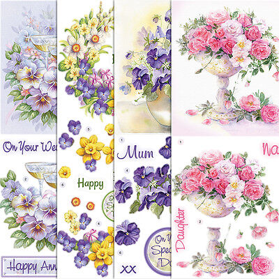Craft Creations Die-Cut 3D Découpage Floral Flowers Rose Poppy Tulip Pansy Daisy