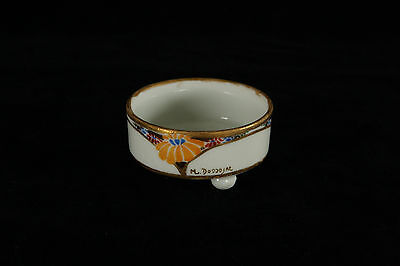Vintage Hand Painted Art Deco Abstract Yellow Flowers Foot Open Salt Cellar Dip