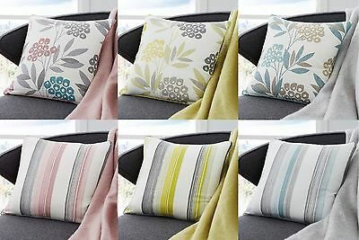 """MODERN DESIGNS STRIPED OR FLORAL CUSHION/SOFA COVERS,3 GREAT COLOURS 17""""x 17"""""""