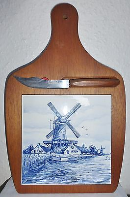 Vintage Wooden Cheese Board & Knife,delft Blue Tile, Holland Windmill (Bx1)