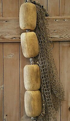 Authentic Used Fishing Floats/buoys On Rope With Netting Nautical Beach Decor