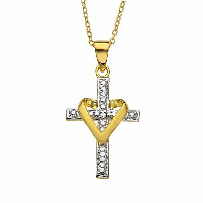 Heart Cross Pendant with Diamond in 18K Gold-Plated Sterling Silver