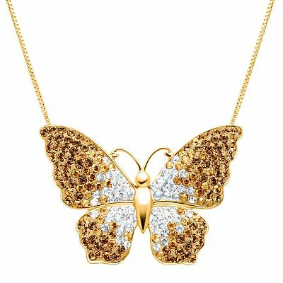 Crystaluxe Butterfly Pendant with Swarovski Crystals in 18K Gold-Plated Silver