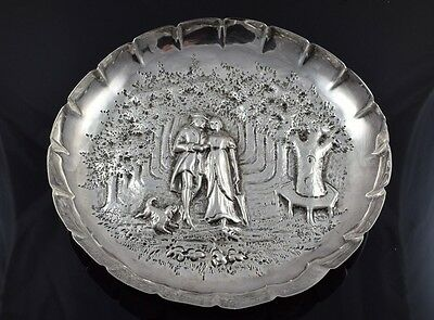 Antique Sterling Silver London 1885 Dish or Bowl - Couple Walking in Forest