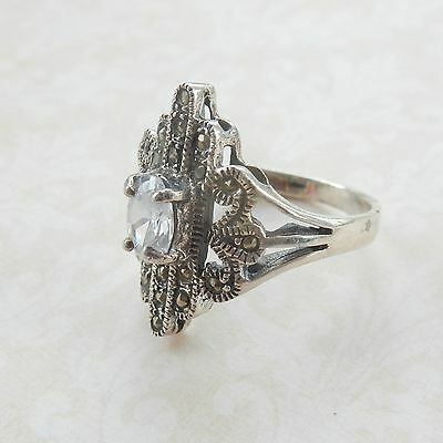 Eye Catching Sterling Silver Marcasite Stone Ring Hallmarked