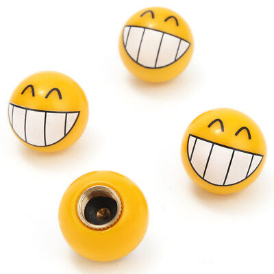 4x Car Auto Yellow Smile Face Ball Wheel Tyre Valve Stems Air Dust Caps Cover