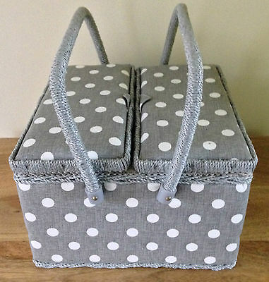 SEWING BOX BASKET Large Twin Lid GREY OR GREEN AVAILABLE 'LINEN POLKA DOT'DESIGN