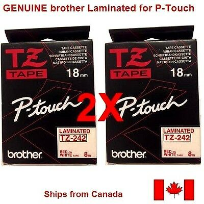 2X GENUINE BROTHER P-Touch RIBBON TAPE LABEL 18mm TZ-242 RED on WHITE - 8m
