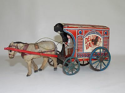carro de hojalata cuerda con caballo Germany // tin toy HORSE DELIVERY VAN   30S