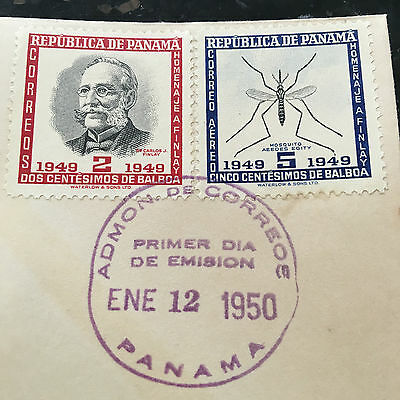 PANAMA Carlos Finlay MD Yellow Fever RARE First Day Cover 2 & 5 Cen. Stamps FDC