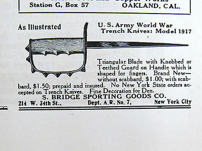 1928  US ARMY new & original Model 1917 World War TRENCH KNIFE Magazine Ad 8829