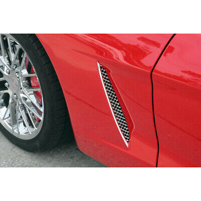 Polished Stainless Steel Laser Mesh Side Vent Grilles for 2005-13 Chevy Corvette
